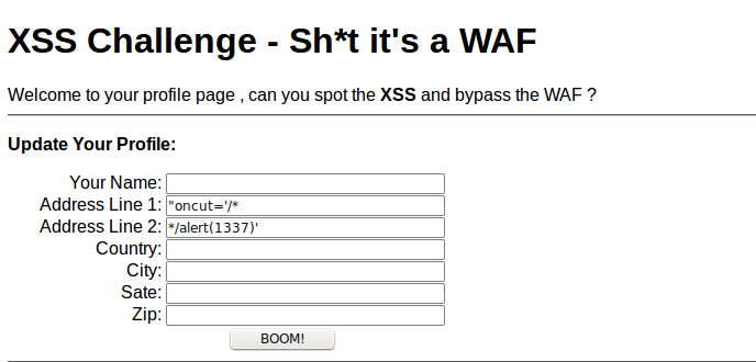Solutions for XSS Challenge – Sh*t it's a WAF | SECURITY GEEK